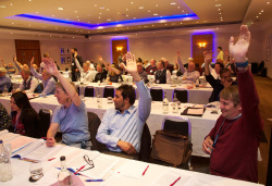 Delegate vote at BT conference, nottingham, 17 May 2018. Photo by John Birdsall